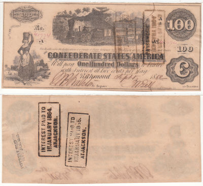 1862. $100. CCU. T-40.