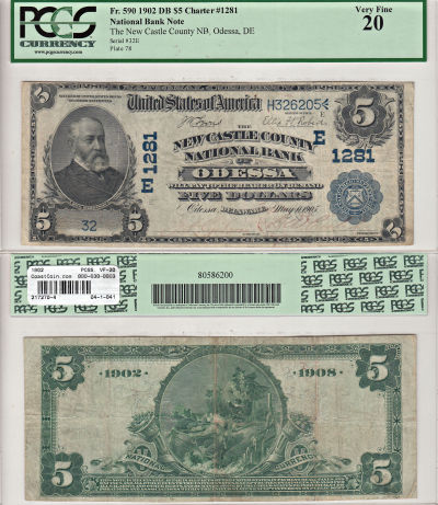 1902. $5. PCGS. VF-20. DE. Odessa. Charter 1281.
