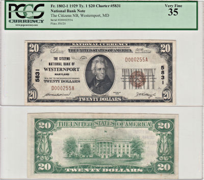 1929. $20. PCGS. VF-35. MD. Westernport. Charter 5