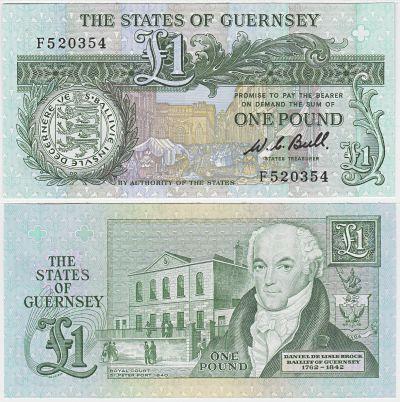 1980-89. Guernsey. 1 Pound. CCU. P-48a.