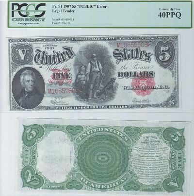 1907. $5. PCGS. XF-40. PPQ. Legal Tender.