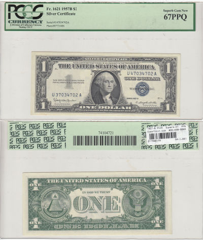 1957-B. $1. PCGS. Superb-67. PPQ. Silver Certifica