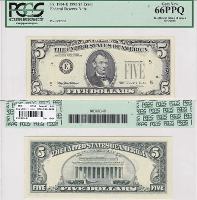 1995. $5. PCGS. Gem-66. PPQ. Federal Reserve Note.