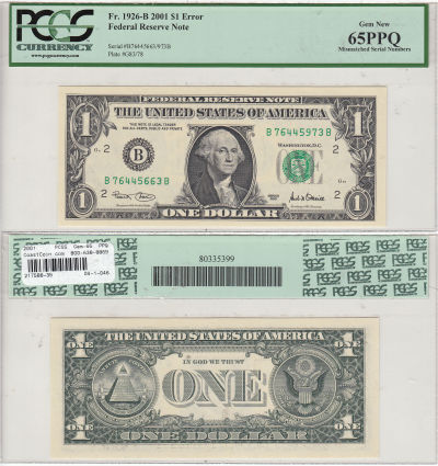 2001. $1. PCGS. Gem-65. PPQ. Federal Reserve Note.
