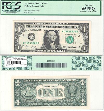 2001. $1. PCGS. Gem-65. PPQ. Federal Reserve Note.