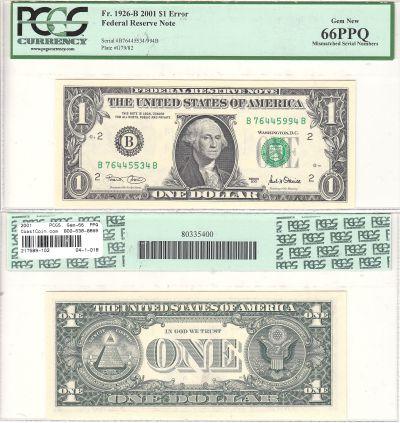 2001. $1. PCGS. Gem-66. PPQ. Federal Reserve Note.