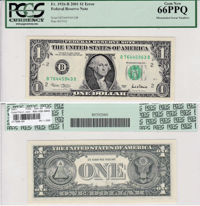 2001. $1. PCGS. Gem-66. PPQ. Federal Reserve Note.