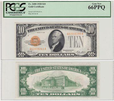 1928. $10. F-2400. PCGS. Gem-66. PPQ. Gold Certifi