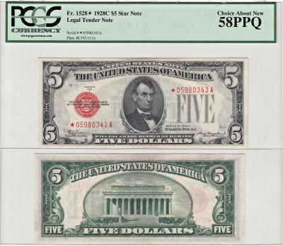 1928-C*. $5. F-1528*. PCGS. Ch AU-58. PPQ. Legal T