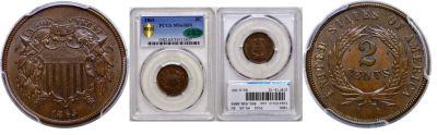 1865. PCGS. MS-65. BN.