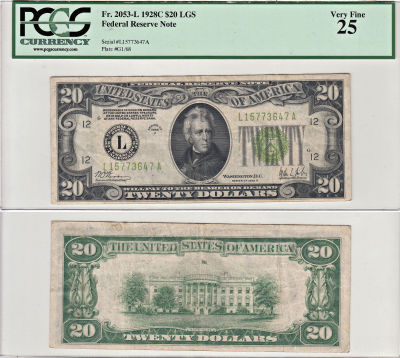 1928-C. $20. F-2053-L. PCGS. VF-25. Federal Reserv