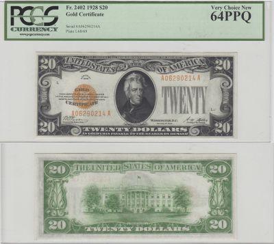 1928. $20. F-2402. PCGS. Very Ch-64. PPQ. Gold Cer