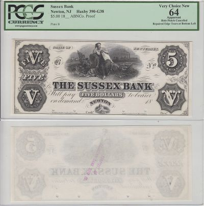 18__. $5. PCGS. Very Ch-64. Apparent. NJ.