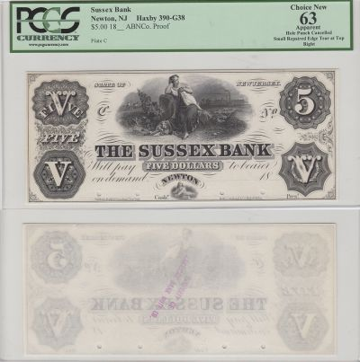 18__. $5. PCGS. Ch New-63. Apparent. NJ.