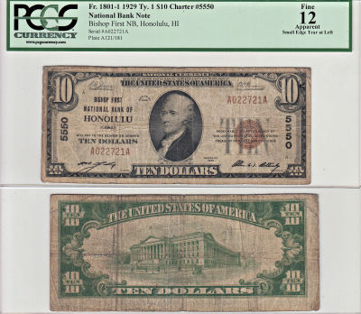 1929. $10. PCGS. F-12. Apparent. HI. Honolulu. Cha