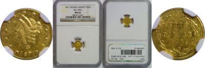 1871. NGC. MS-62. California Fractional Gold.