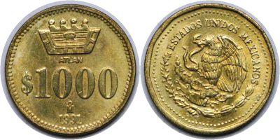 1991. Mexico. 1000 Pesos. CBU.