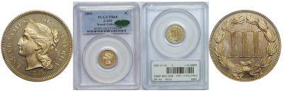 1865. Three Cent. PCGS. PR-66. J-410.