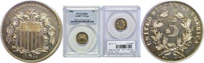 1866. Nickel. PCGS. PR-66. J-489.