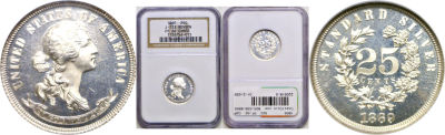 1869. Quarter. NGC. PF-66. CAM. J-733.