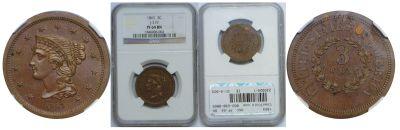 1863. Three Cent. NGC. PF-64. BN. J-319.