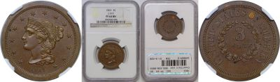 1863. Three Cent. NGC. PF-64. BN. J-319.