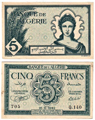 1942. Algeria. 5 Francs. AU. P-91.