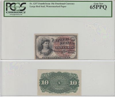 10c. 4th Issue. PCGS. Gem-65. PPQ. F-1257.