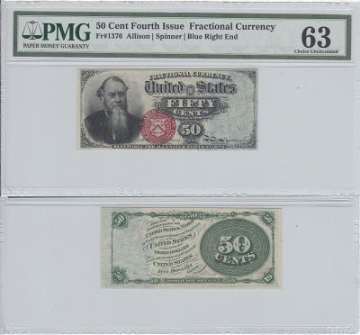 50c. 4th Issue. PMG. Ch Unc-63. F-1376.
