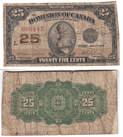 1923. Canada. 25c. GOOD. P-11c.