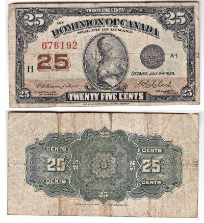 1923. Canada. 25c. FINE. P-11c.