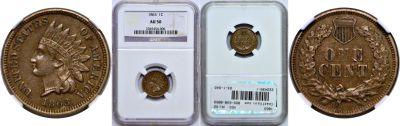 1863. NGC. AU-50.