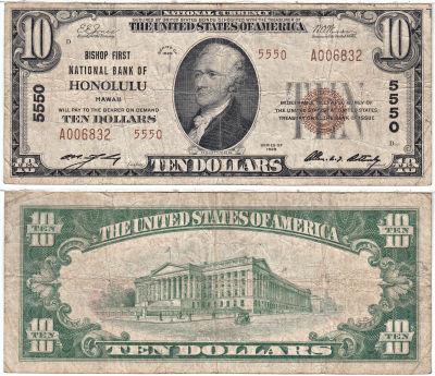 1929. $10. FINE. HI. Honolulu. Charter 5550.