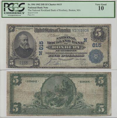 1902. $5. PCGS. VG-10. MA. Roxbury. Charter 615.