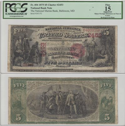 1875. $5. PCGS. F-15. Apparent. MD. Baltimore. Cha