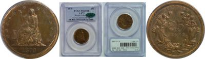 1870. Quarter. PCGS. PR-65. RB. J-879.