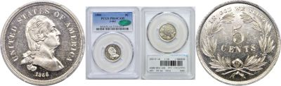 1866. Nickel. PCGS. PR-64. CAM. J-461.
