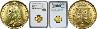 1887. Great Britain. 1/2 Sovereign. NGC. MS-62.