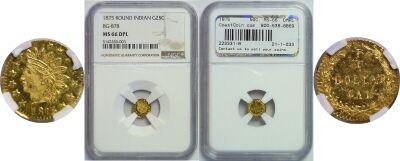 1875. NGC. MS-66. DMPL. California Fractional Gold