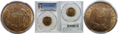 1867. PCGS. MS-65. RB.