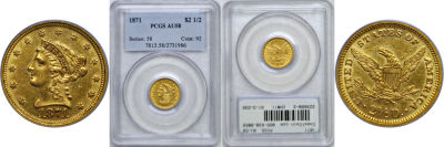 1871. PCGS. AU-58.