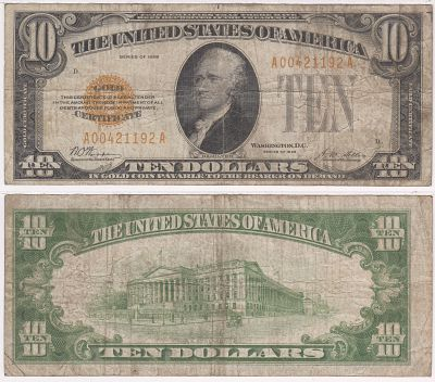 1928. $10. 2400. VG. Gold Certificate.