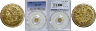 1870. PCGS. MS-66. California Fractional Gold.