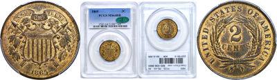 1865. PCGS. MS-64. RB.