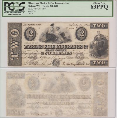 1844. $2. PCGS. Ch New-63. WI.