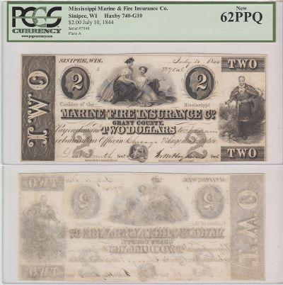 1844. $2. PCGS. New-62. WI.