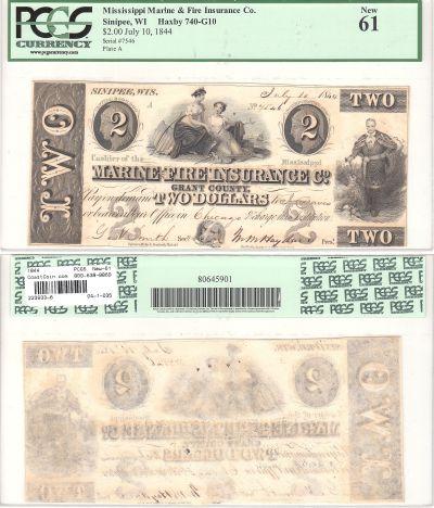 1844. $2. PCGS. New-61. WI.