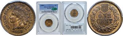 1864 Bronze. PCGS. MS-64. RB.
