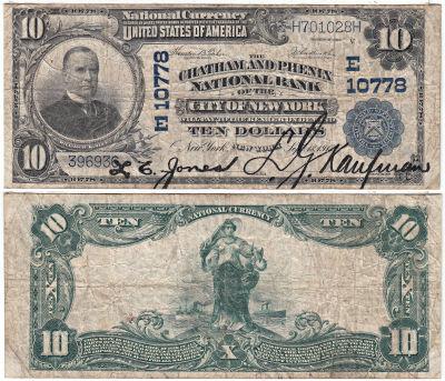 1902. $10. VG. NY. New York. Charter 10778.