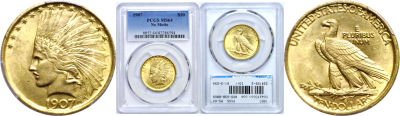 1907. PCGS. MS-64. Indian.
